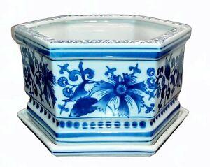 Blue & White Porcelain Cachepot Planter  Hexagon - Chinoiserie Jardiniere Pot