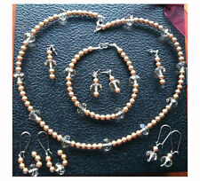 Glass Pearl and Crystal Set of Necklace, Bracelet, and 4 pairs of Earrings