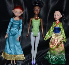 Lot of 3 Disney Princesses Merida Mulan & Tiana Barbies Dolls Toys Girls Set