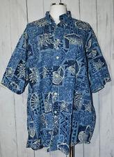 NAUTICA Blue Seashell Hawaiian Short Sleeve Button Down Shirt Large