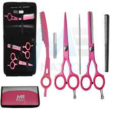 Pro 14cm Tijeras de peluquería Set Barbería Kit + RECORTE Cuchilla CONJUNTO ROSA
