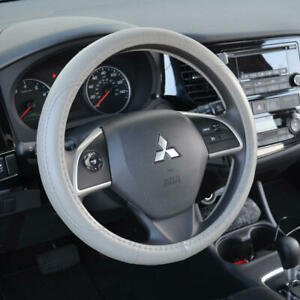 """Leather Performance Grip Steering Wheel Cover Universal Size 14.5-15.5"""" Gray"""