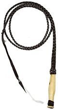 10' Leather Braided Western Bull Whip W/ Wooden Handle! NEW HORSE TACK!
