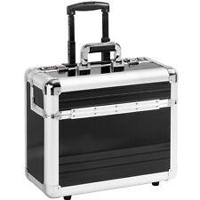 Pilotenkoffer Pilotentrolley Aluminium Alu schwarz Koffer mit Rollen Trolley  XL