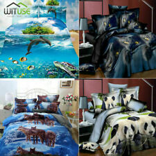 3D Bedding Set Animal Printed Quilt Duvet Cover Pillow Case Twin Queen Size 131