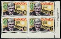 CANADA #504 6¢ Stephen Leacock Humorist, Historian LR Plate Block MNH