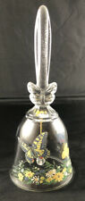 Vintage Avon 1990 24% Lear Crystal Clear Glass Bell with Butterflies Flowers