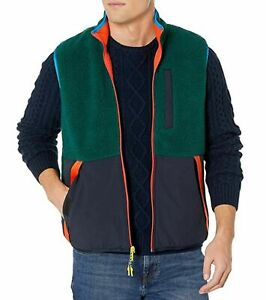 Tommy Hilfiger Mens Sweater Green Blue US 2XL Colorblock Sherpa Vest $149 086
