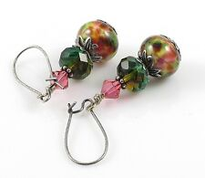 Green and Pink Earrings, Lampwork Glass , Dangle Drop Earrings