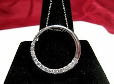 14K WHITE GOLD .60 TCW DIAMOND HALF CIRCLE LOVE IS A JOURNEY PENDANT NECKLACE