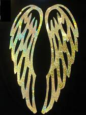 Holo GOLD ANGEL WING L IRON-ON transfer APPLIQUE