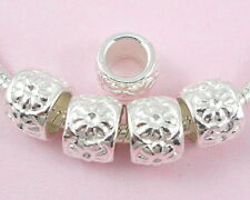 50pcs Silver Plated Flower Charm Big Hole Beads Fit European Bracelet SY2
