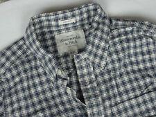 NWT Men's Abercrombie Fitch Plaid Check LS Long Sleeve Navy Blue Wht Shirt Sz S