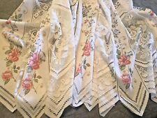 "Vintage German Lace Floral Scalloped Bottom Panel 76"" x 64"" plus (3) Remnants"