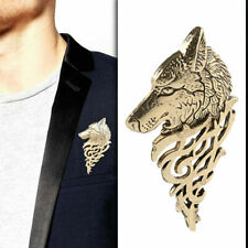 Corsage Shirt Collar Jewelry Party Gift Retro Men Metal Wolf Brooch Pins