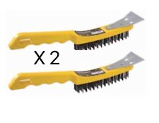 2 X BLACKSPUR 4 Row Plastic Wire Brush with Scraper(TOP QUALITY PRODUCT)