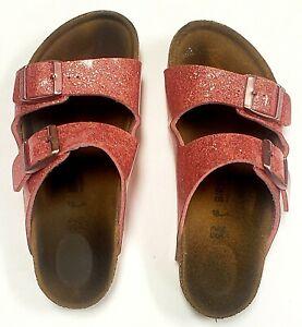 Birkenstock Arizona Youth Girls Kids Pink Glitter Slip On Shoes Sandals - sz 1