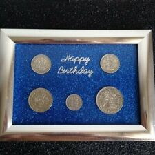 More details for personalised happy birthday framed set of coins pick your year and colour