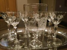 Vintage Libbey Chanticleer Rooster Martini Liquor Cocktail Glasses Set of 7