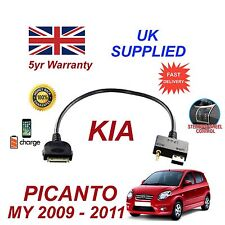 For KIA Picanto iPhone 3 3gs 4 4S iPod USB & 3.5mm Aux Cable 2009-2011
