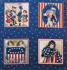 """Children Flag Patriotic Fabric Americana 6"""" Quilt block Squares PE"""