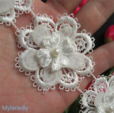 1yd Flower Heart Pearl Lace Edge Trim Vintage Wedding Ribbon Applique Sewing DIY