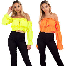 Women Ladies Off Shoulder Long Sleeve Blouse Ruched Frill Ruffle Bardot Crop Top