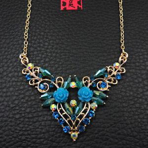 Betsey Johnson Blue Enamel Beautiful Crystal Flower Rhinestone Chain Necklace