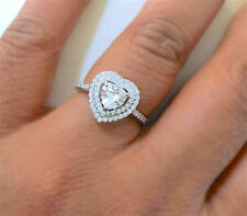 Boxed 925 Silver Ladies Double Heart Halo Wedding Engagement Bridal Ring P Sterling Silver