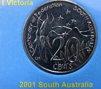 2001 South Australia 20 cent UNCIRCULATED Centenary of Federation coin from set!
