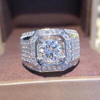 Shiny 925 Silver Huge White Topaz Ring Men Women's Wedding Band Jewelry Size5-12