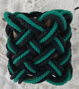 (2) ... (3) STRANDS TURKS HEAD KNOT by RODTEK (BLACK AND GREEN)