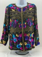 Drapers & Damons Woman's jacket 100% silk evening sequin floral size S Shimmer