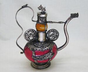 Chinese Red/Yellow Stone Tibetan Silver Dragon Monkey Phoenix Butterfly Teapot