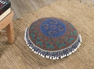 Large Extra Large Round Mandala Floor Cushion Pillow Cover Indian Ottoman Pouf