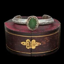 Antique Vintage Sterling Coin Silver Native Navajo Nephrite Jade Cuff Bracelet