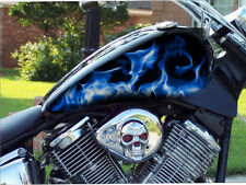 "16"" BLUE flames 4pc motorcycle vinyl decal sticker tank wrap or custom"