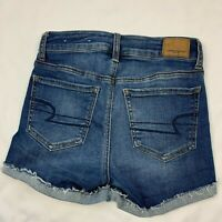 American Eagle Women's High Rise Size 2 Shortie Next Level Stretch Blue Shorts