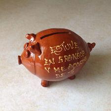 Vtg Piggy Bank Terra Cotta? Granada Spain Puerto Rico? Souvenir Bit By Dog! Rare