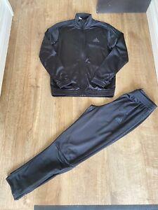 Adidas Black Straight Leg Track Suit 3 Stripe Age 11-12 Years