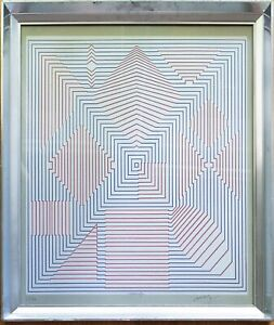 Victor Vasarely OP ART Hand Signed Numbered Serigraph Screen Print Geo Abstract
