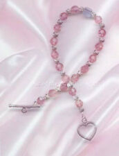 Male Breast Cancer Awareness Bracelet made with Swarovski Crystals .925 SS