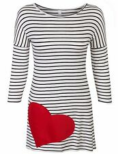 Womens 3/4 Sleeve Stripe Cute Heart Tunic valentines day Top Shirts Made in USA