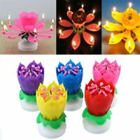 5Pcs Blossom Lotus Flower Rotating Musical Birthday Cake Candle Magic Party ONY