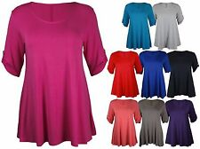 New Womens Plus Size Stretch Button Top Ladies 3/4 Turn Up Sleeve T-Shirt 14-28