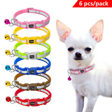 6pcs/lot Small Dog Cat Collars Safety Reflective for Pet Puppy Kitten with Bell