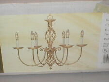 NOS Vintage Hunter Co. Polished Solid Brass Wrought Metal Chandelier Model 17414