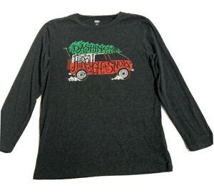 Old Navy Long Sleeve T-Shirt Boys L 10-12 Gray Holiday Graphic dashing thru snow
