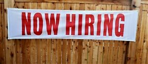 New Now Hiring Banner Sign Huge 2x8 Big Store Opening Open Soon Restaurant Flag