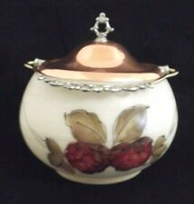 Vtg. White Milk Glass Pot w/Copper Rim&Lid Ornate Handle Fruit Design Signed HR